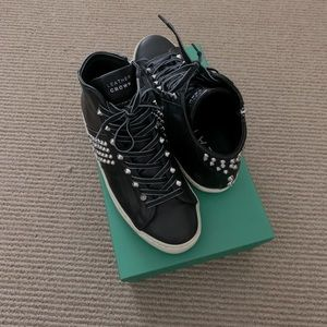 Leather Crown iconic stud high top sneaker, 38